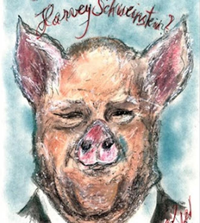 La caricatura deKarl Lagerfeld sobre Harvey Weinstein para el suplemento mensual del diario 'Frankfurter Allgemeine Zeitung'.