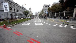 El límite de Madrid Central en Cibeles.