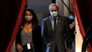 Quim Torra y Meritxell Budó, este miércoles en el Parlament.
