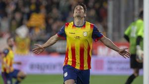 Bojan Krkic celebra su gol, el primero de Catalunya, en el amistoso ante Venezuela en Montilivi.
