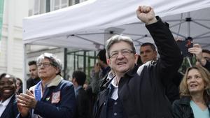 Mélenchon, en la manifestación del 1º de Mayo en París.