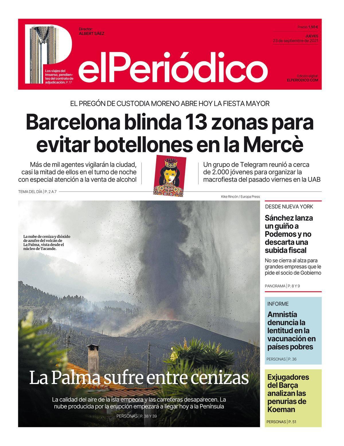 La portada de EL PERIÓDICO del 23 de septiembre del 2021