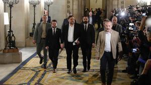 Oriol Junqueras en el Parlament declarando ante la comisión de investigación de la cámara catalana sobre la aplicación del artículo 155 de la Constitución