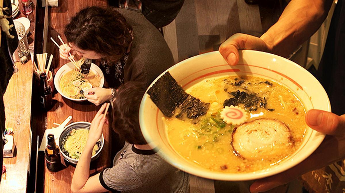 Vídeo de las colas ante el restaurante Ramen-ya Hiro, para comer sopa.