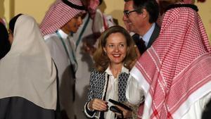 La vicepresidenta económica, Nadia Calviño, en la reunión de ministros y banqueros centrales del G20 en Riad del pasado febrero.