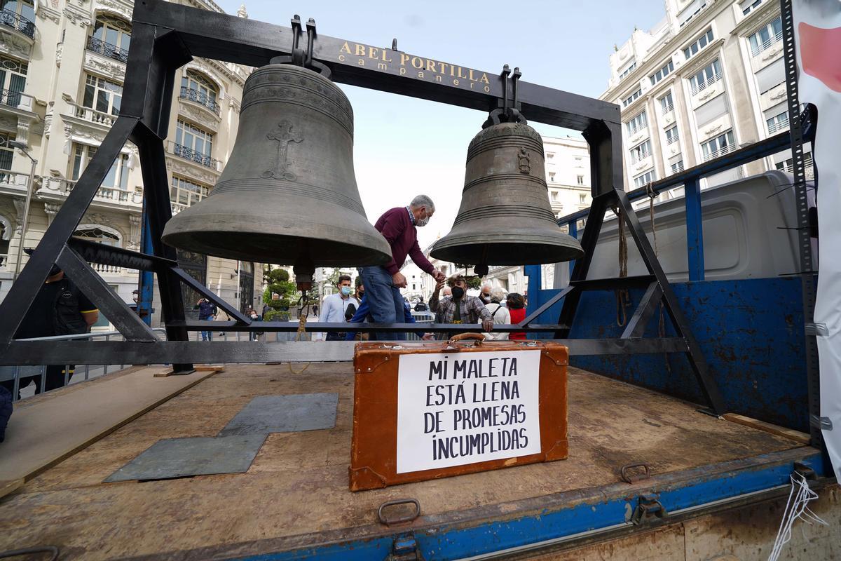 Protesta a favor de la España vaciada, el pasado marzo en el Congreso de los Diputados