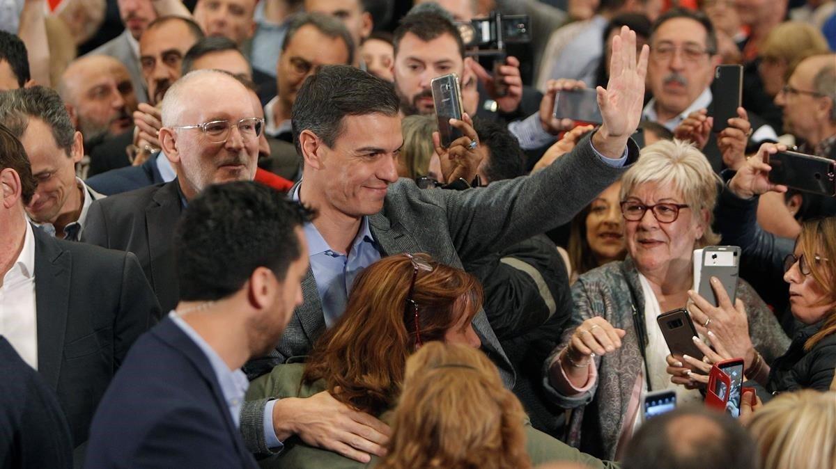 El presidente del Gobierno y secretario general del PSOE,Pedro Sánchez,durante el mitin de este sábado en la Universidad de Alicante.