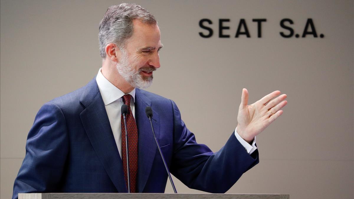 El Rey Felipe VI durante su discurso en la SEAT.