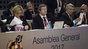 Larrea, presidiendo una asamblea del 2017.