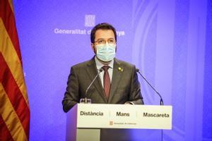 Pere Aragonés en rueda de prensa