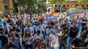 Protesta contra las agresiones homófobas convocado por la Plataforma LGTBI
