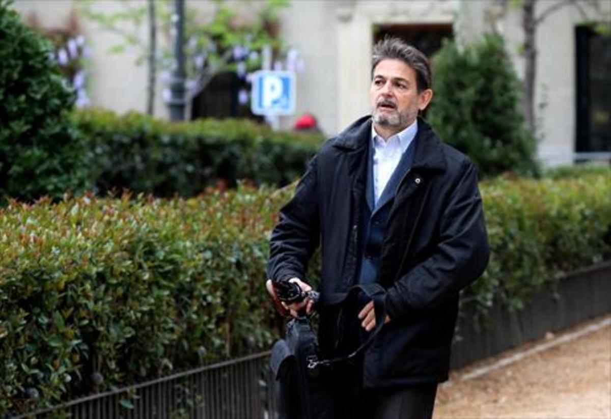 Oriol Pujol Ferrusola,al llegar a la Audiencia Nacional para declarar por la fortuna oculta en Andorra.