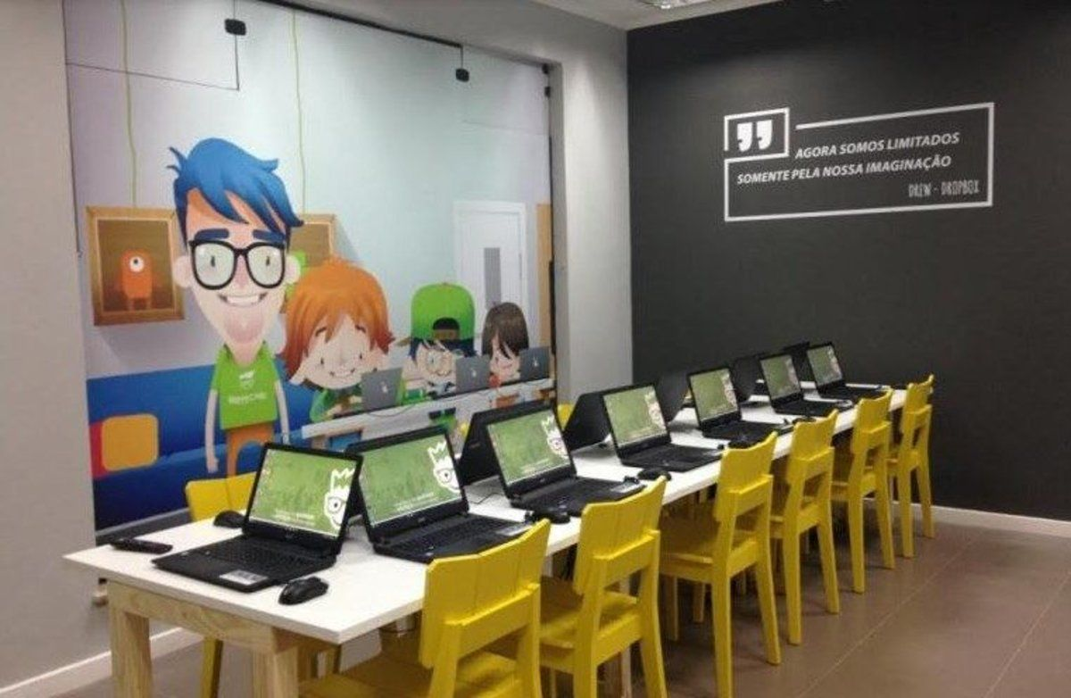 Una de las aulas que Happy Code tiene en Brasil.