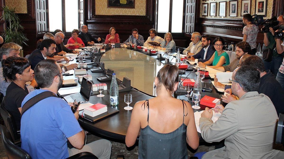 Reunión de la Junta de Portavoces en el Parlament.