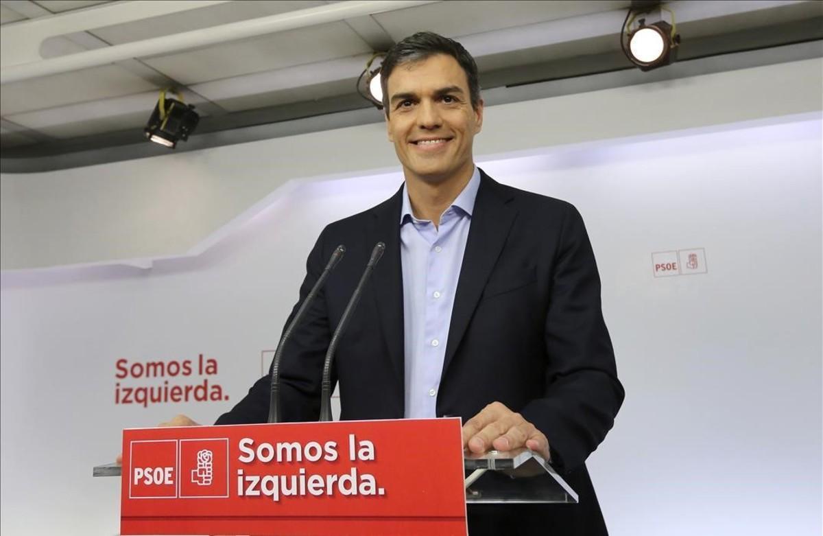 Pedro Sánchez, este martes en la sede del PSOE.