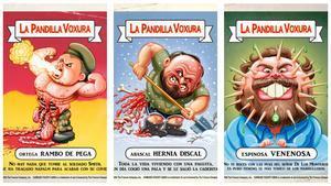 Tres de los cromos de la 'Pandilla Voxura' de 'El Jueves'.