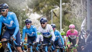 Valverde, con el maillotde campeón del mundo, y Soler, en la Volta del 2019.
