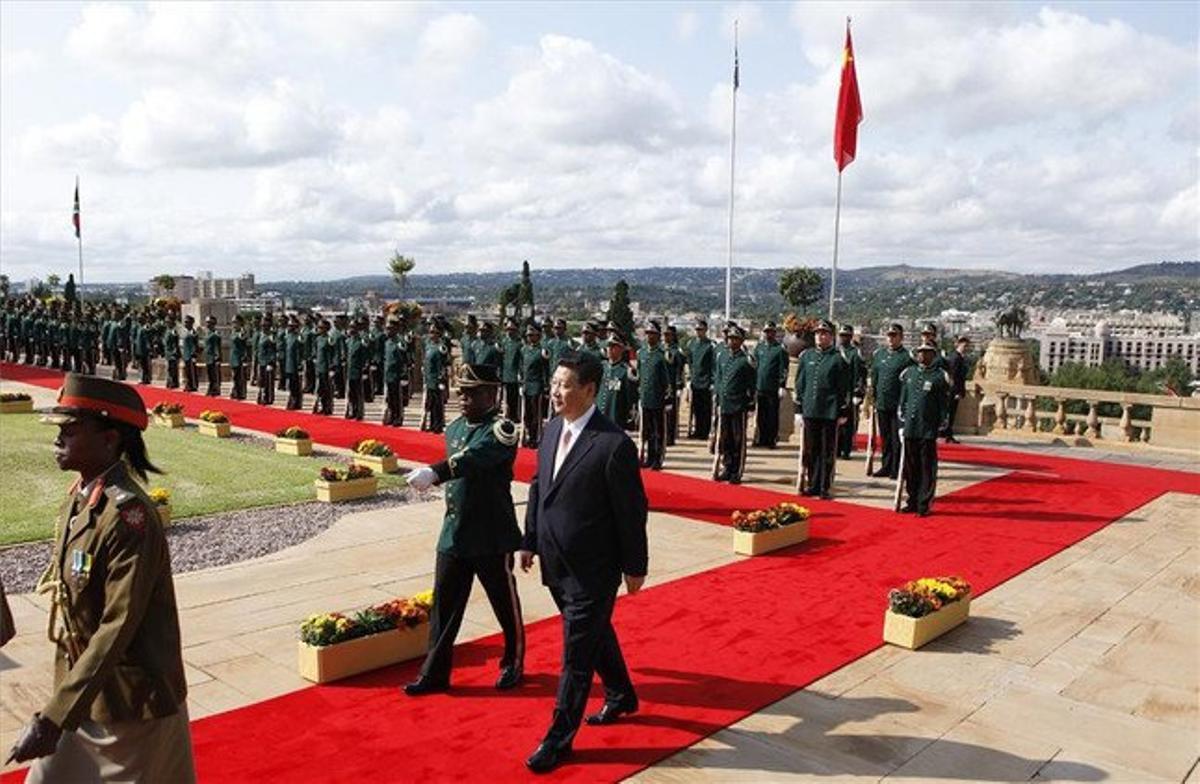 El presidente chino Xi Jinping, a su llegada ayer a Sudáfrica.