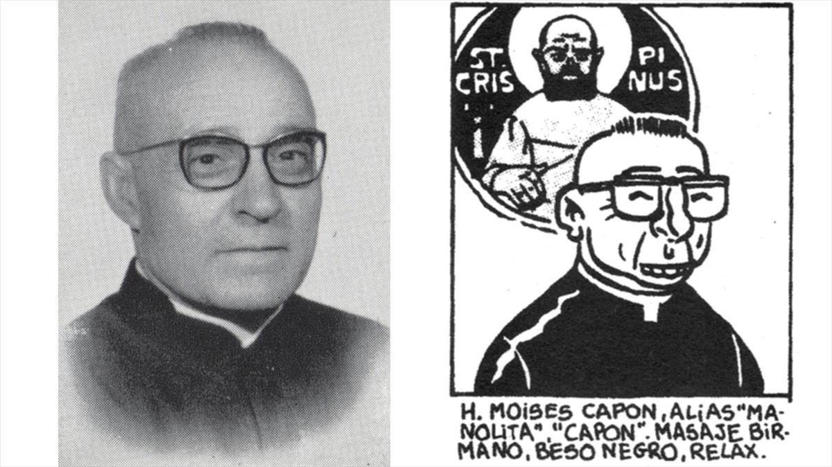 Fotografía del hermano Moisés González junto a la caricatura que le hizo el dibujante Miguel Gallardo para la revista 'El Víbora'.