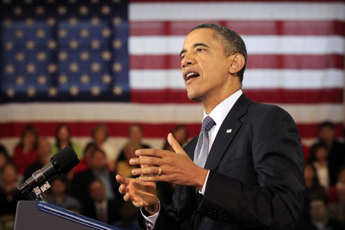 Barack Obama durante el discurso.