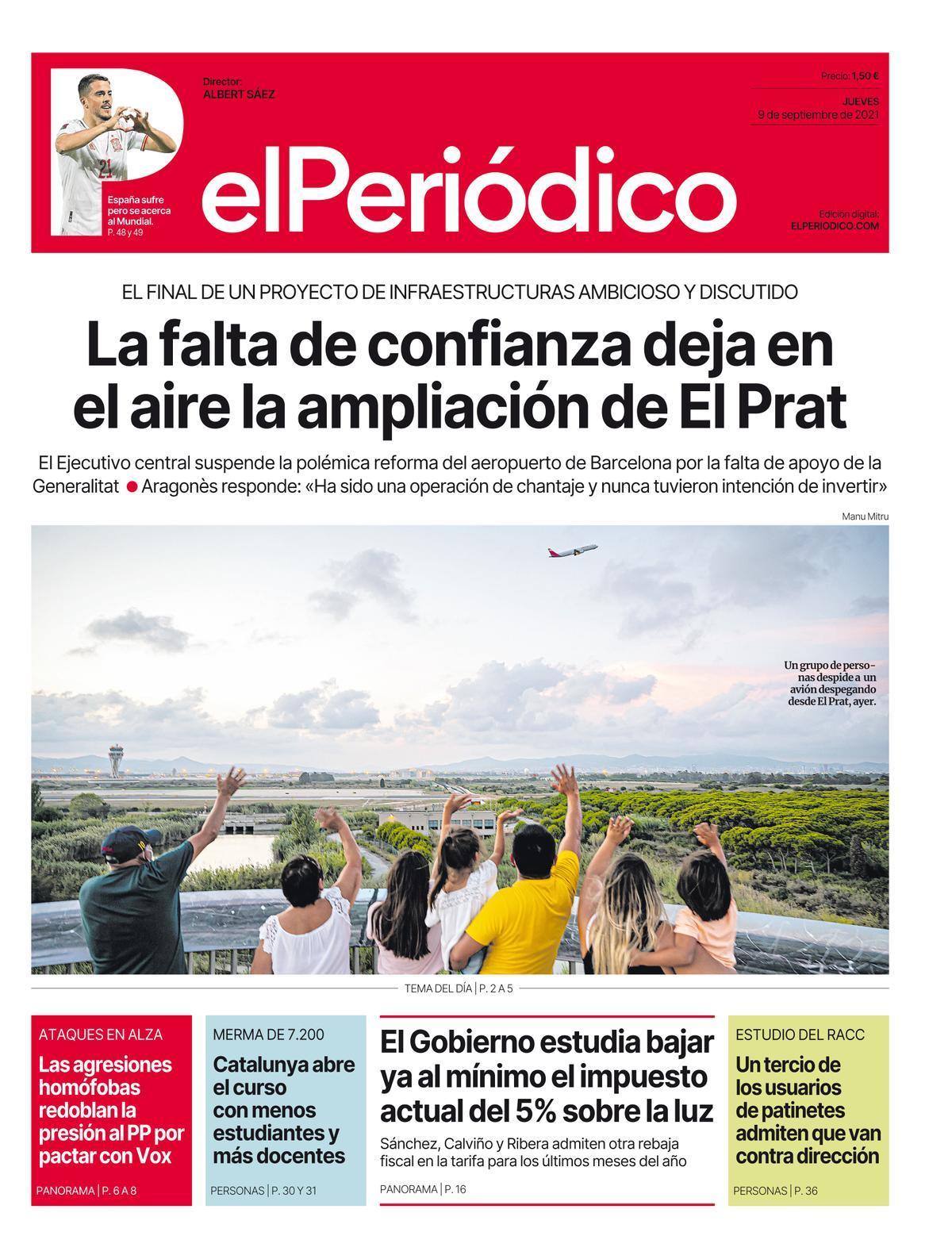 La portada de EL PERIÓDICO del 9 de septiembre del 2021