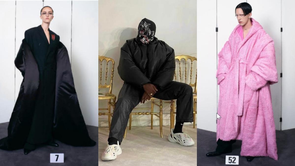 Ella Emhoff y Kanye West, enmascarado (en el centro), en el regreso de Balenciaga a la alta costura en París, ayer.