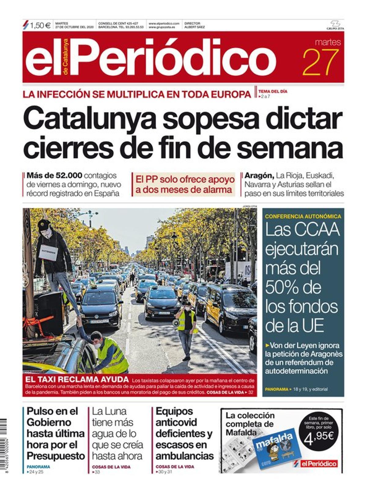 La portada de EL PERIÓDICO del 27 de octubre del 2020.