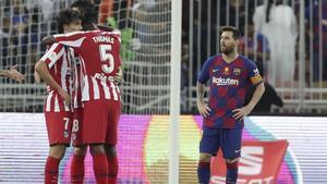 Messi, tras confirmarse la derrota ante el Atlético el jueves en Yeda.