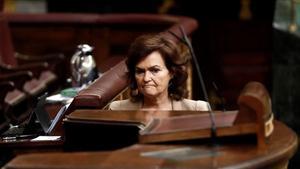 Carmen Calvo, este jueves en el Congreso de los Diputados.