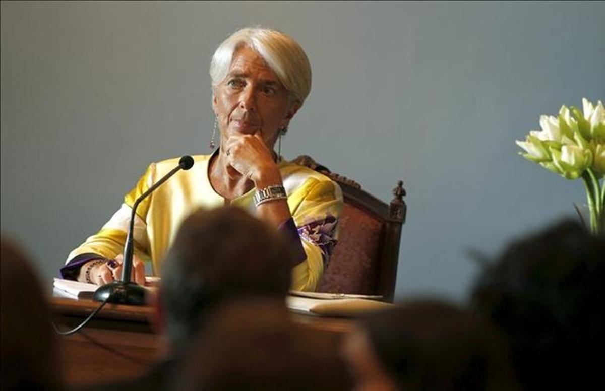 La directora del FMI, Christine Lagarde, en la sede del Banco de Tailandia en Bangkok.