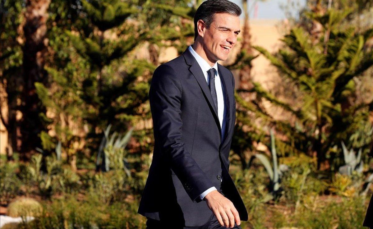 Pedro Sánchez, a su llegada a la cumbre de la ONU sobre migración que se celebra en Marrakech.