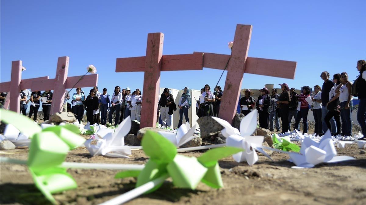 Homenaje a las mujeres víctimas de feminicidio en Ciudad Juárez (México), en el 2010.