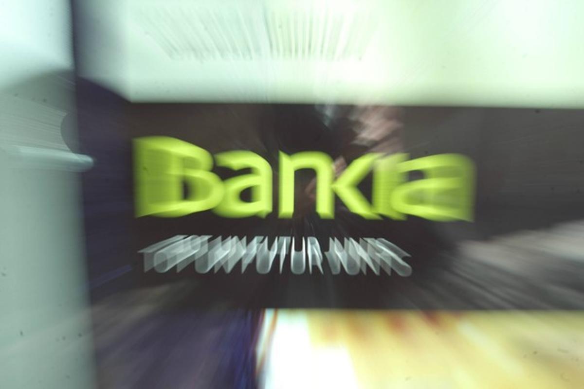El logotipo de Bankia en una oficina de la entidad de Barcelona, el pasado jueves.