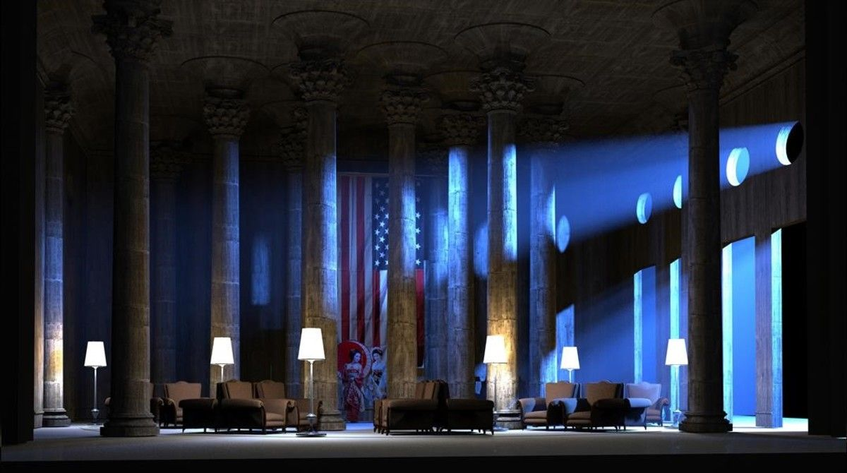 Ensayo general del primer actode'Madama Butterfly', de Puccini, que el director escénico Joan Anton Rechi estrena en Düsseldorf este sábado yse presentaráen Peralada esteverano.