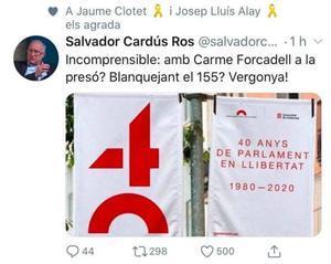 Mensaje del sociólogo Salvador Cardús con la falsa imagen, retuiteada por el director de comunicación del Govern, Jaume Clotet.