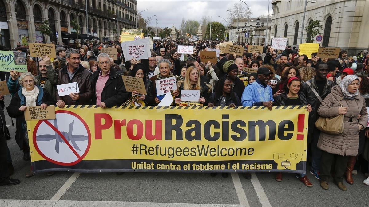 Manifestación contra el racismo en Barcelona.
