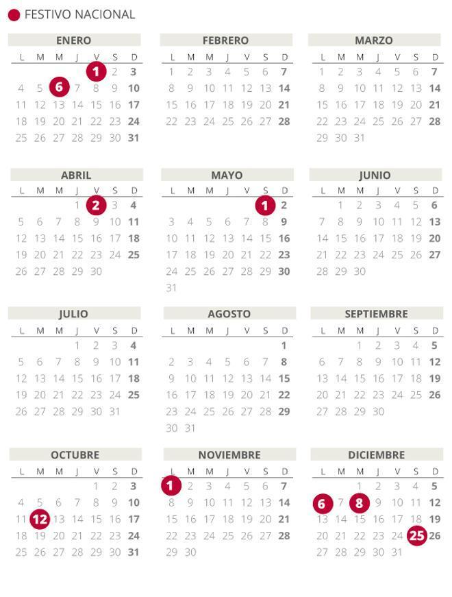 Calendario laboral de España del 2021.
