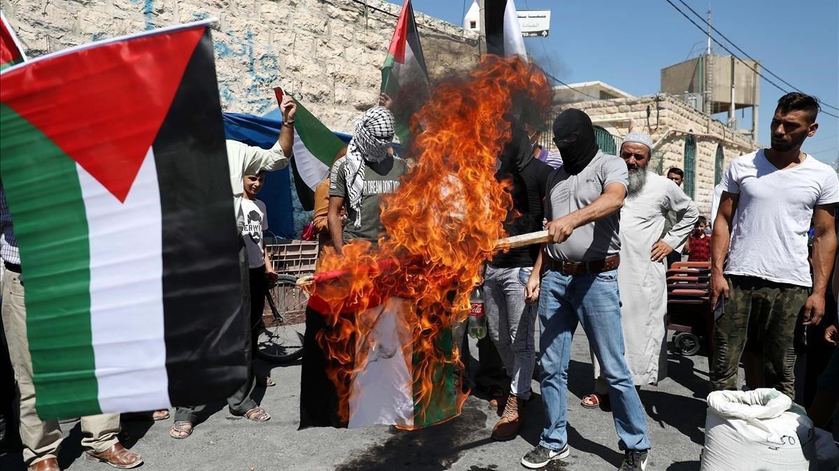 Protestes a Gaza i Cisjordània contra l'acord entre Israel i els Emirats