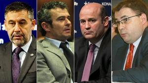 Josep Maria Bartomeu, Jaume Masferrer, Óscar Grau y Roman Gómez.