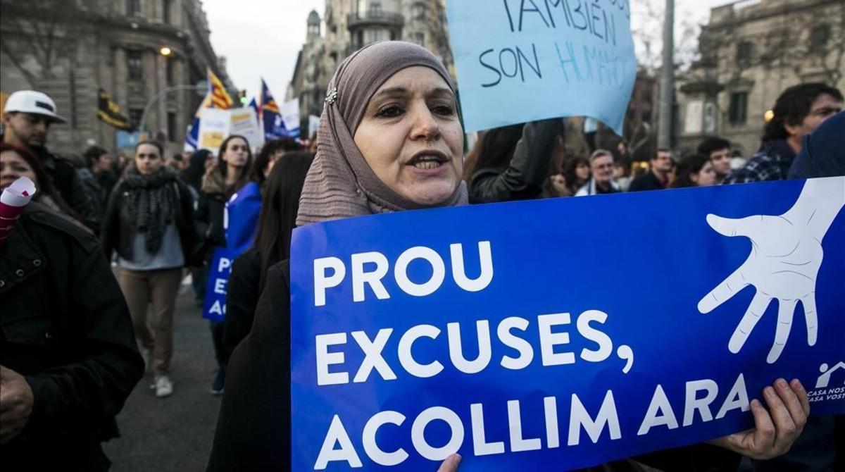 La gran manifestacion a favor de la llegada de refugiados e inmigrantes, el año pasado en Barcelona