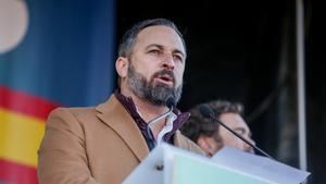 El presidente de Vox, Santiago Abascal, durante una concentración por la plataforma 'España Existe'.