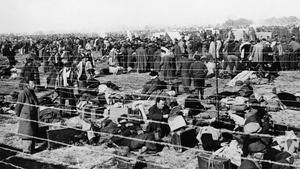 Refugiados republicanos en el campo de concentración de Argelés en 1939.