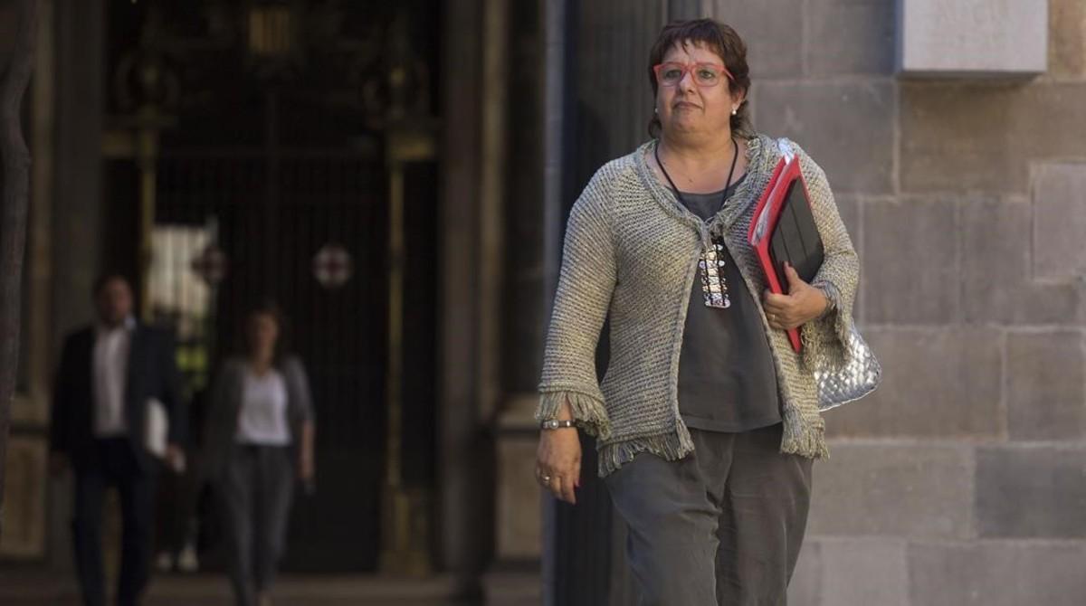La 'consellera' de Treball, Dolors Bassa, en el Palau de la Generalitat.