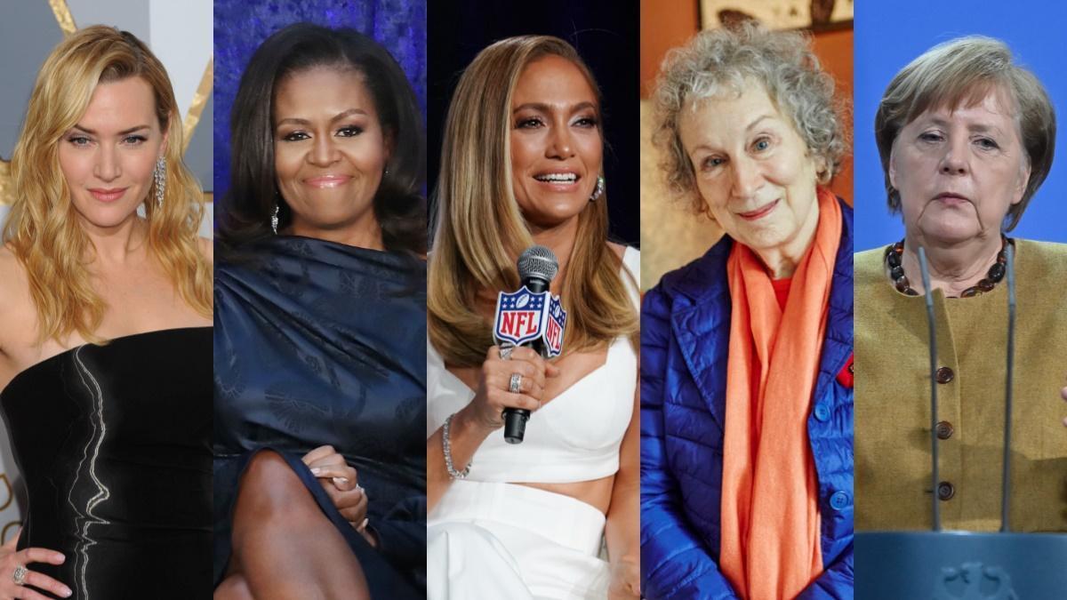 De izquierda a derecha, mujeres que han hablado del 'síndrome de la impostora': Kate Winslet, Michelle Obama, Jennifer Lopez, Margaret Atwood y Angela Merkel.