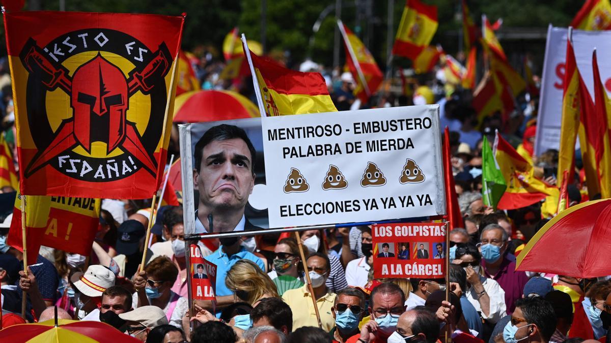 Manifestación en la plaza de Colón contra los indultos.