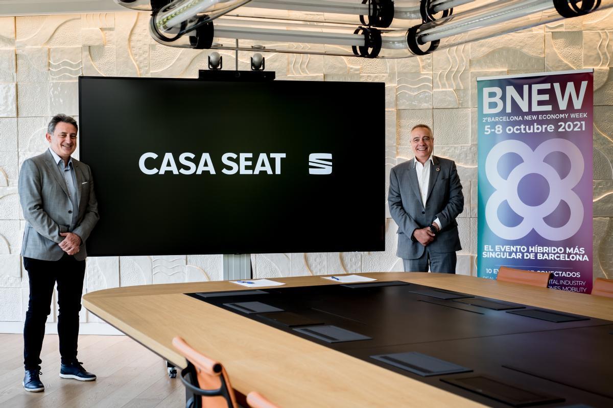Gabriele Palma,director de CASA SEATyPere Navarro, delegado especial del Estado en el Consorci de la Zona Franca de Barcelona y presidente de BNEW.