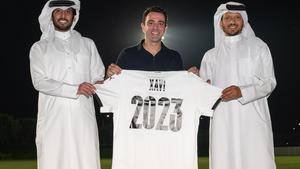 Xavi, tras firmar su renovación con el Al Sadd hasta el 2023.