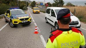 Control de los mossos el pasado 9 de abril en la C-31.