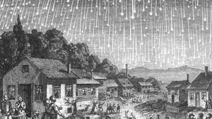Ilustración de unalluvia de Leónidas ocurrida en el año 1833, una de las más espectaculares de la historia.