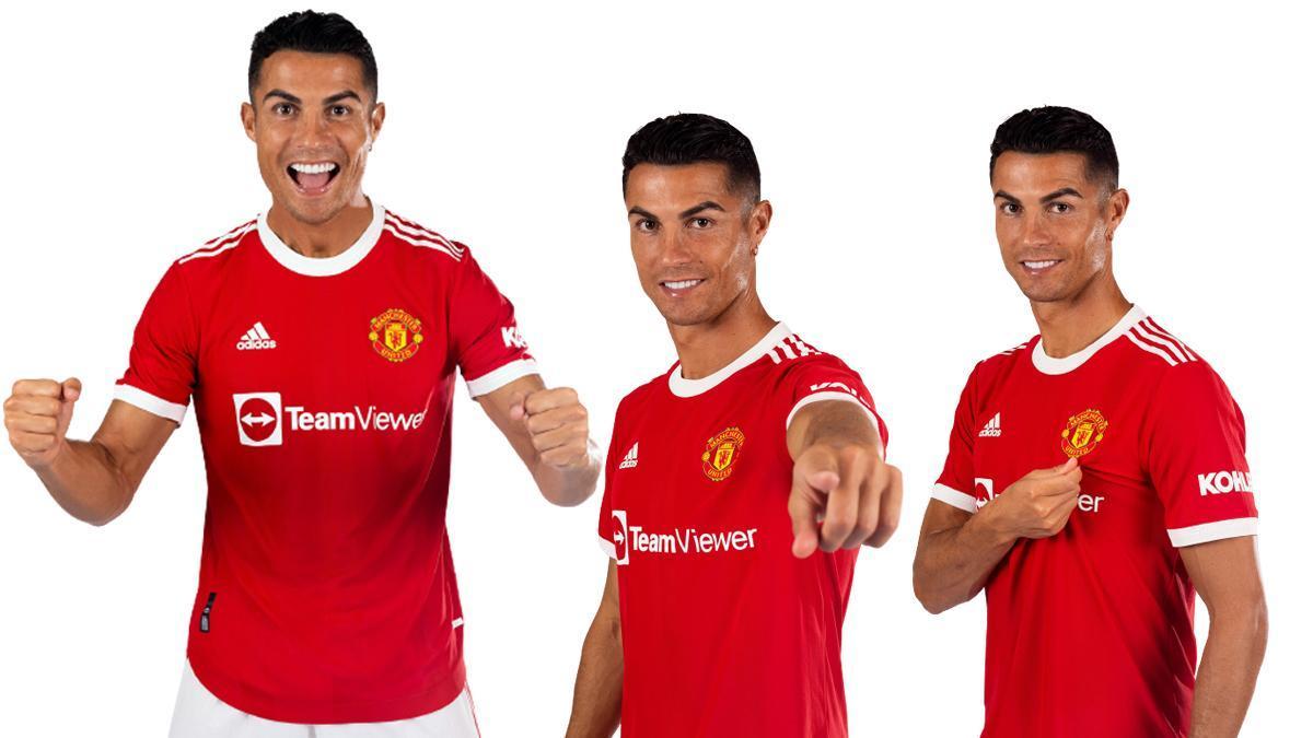 Cristiano Ronaldo posa con la camiseta del Manchester United